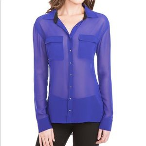 Guess | Sheer Purple Eva Blouse with Stud Buttons